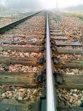 Bahngleis in den Nebel Lizenzfreie Stockfotografie