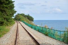 Bahngleis in einer Küste von Busan, Korea Lizenzfreie Stockfotografie