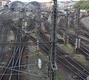 Bahngleis in Prag Stockbilder