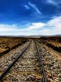 Bahngleise, die die Landschaft durchlaufen stockbild