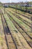 Bahngleise im Depot Lizenzfreies Stockbild