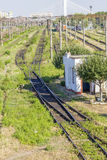 Bahngleise im Depot Lizenzfreie Stockfotografie
