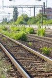 Bahngleise im Depot Stockfotos