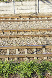 Bahngleise im Depot Stockbilder