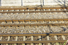 Bahngleise im Depot Lizenzfreies Stockfoto