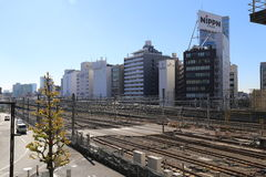 Bahngleise in Shinjuku Japan Lizenzfreie Stockfotografie