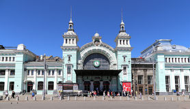 Bahnhof Belorussky-- ist einer der neun hauptsächlichbahnhöfe in Moskau, Russland Stockfotografie