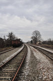 Bahnhof mit alten Lastwagen Stockfotografie