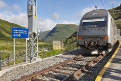 Bahnhof Myrdal Norwegischer Tourismushöhepunkt Flamsbana ist eine 20,2-Kilometer-lange Bahnlinie zwischen Myrdal und Flam Stockfotos