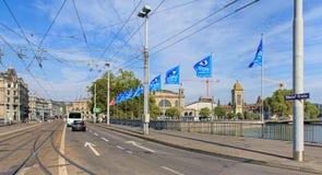 Bahnhofbrucke bridge in Zurich Royalty Free Stock Images