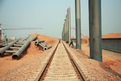 Bahnhofs-Bauvorhaben Luoyangs LongMen in der Eisenbahn Zhengxi-hoher Geschwindigkeit stockbild