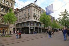Bahnhofstrasse在瑞士苏黎士 库存照片
