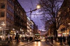 Free Bahnhofstrasse Decorated During Christmas Season Stock Photo - 183411280