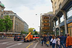 Bahnhofstrasse Zurich Switzerland. View of the busy Bahnhofstrasse street Zurich Switzerland .Bahnhofstrasse is Zurich`s main downtown street and one of the stock images