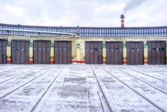 Bahnlokomotivdepot Stockfoto