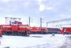 Bahnlokomotivdepot Lizenzfreies Stockbild