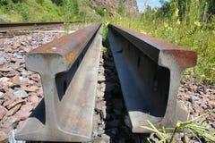 Bahnschienen und Lagerschwellen Die alte Eisenbahn durch den Wald Stockfotografie
