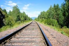 Bahnschienen und Lagerschwellen Die alte Eisenbahn durch den Wald Lizenzfreie Stockbilder