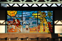 Bahnstation-Buntglas lizenzfreies stockbild