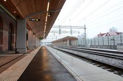 Bahnstation im Winter Stockbilder