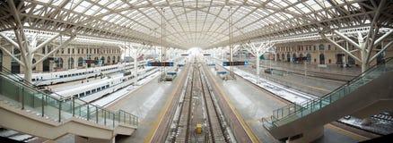 Bahnstation-Panorama Lizenzfreies Stockbild