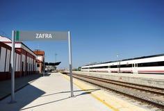 Bahnstation von Zafra, Badajoz-Provinz, Spanien stockbild