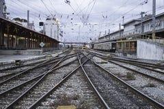 Bahnstations-Nacht Lizenzfreie Stockfotografie