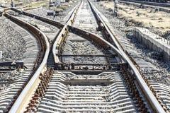 Bahnstrecken an der Bahnstation stockbild