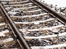 Bahnstrecken im Schnee lizenzfreie stockfotografie