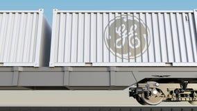 Bahntransport von Behältern mit General Electric-Logo Redaktionelle Wiedergabe 3D Stockbilder