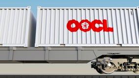 Bahntransport von Behältern mit Orient-Überseebehälter-Linie OOCL-Logo Redaktionelle Wiedergabe 3D Stockfotografie