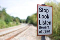Bahnwarnzeichen Lizenzfreie Stockfotografie