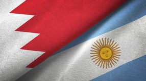 Bahrain and Argentina two flags textile cloth, fabric texture. Bahrain and Argentina flags together textile cloth, fabric texture stock illustration