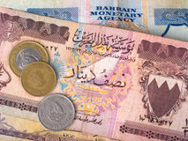 Bahrain banknotes and coins. Bahrain dinar banknotes and coins Royalty Free Stock Photo