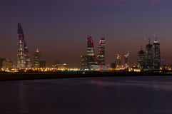 Bahrain cityscape in the night stock images