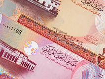 Bahrain currency half and one dinar 2006 banknote closeup macr stock photos