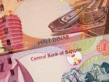 Bahrain currency half and one dinar 2006 banknote closeup macr. O, Bahraini money close up stock images