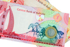 Bahrain currency - isolated. Bahrain one dinar, half dinar and 100 fils - isolated