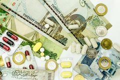 Bahrain Currency and medicine Close Up stock photos