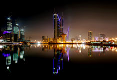 The Bahrain Financial Harbour BFH at night Stock Photos