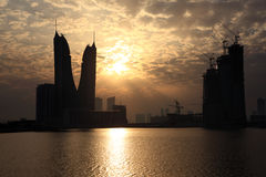 Bahrain Financial Harbour at sunset Royalty Free Stock Photography