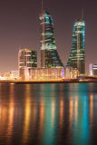 Bahrain Financial Harbour Towers at night Stock Photography