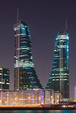 Bahrain Financial Harbour Towers at night Stock Photo