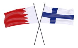 Two crossed flags. Bahrain and Finland, two crossed flags isolated on white background. 3d image Stock Image