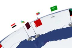 Bahrain flag. Country flag with chrome flagpole on the world map with neighbors countries borders. 3d illustration rendering Royalty Free Stock Photo