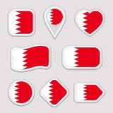 Bahrain flag stickers set. Bahraini national symbols badges. Isolated geometric icons. Vector official flags collection vector illustration