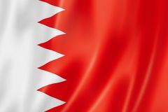 Bahrain flag. Three dimensional render, satin texture stock illustration