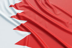 Bahrain flag. Wavy fabric high detailed texture. 3d illustration rendering Royalty Free Stock Photo