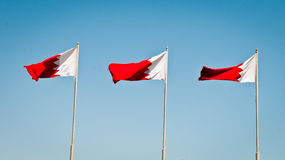 Bahrain Flags. Three of the national flags of the kingdom of Bahrain Royalty Free Stock Photography