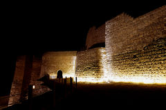 Bahrain Fort wall illuminated from the bottom Royalty Free Stock Photo